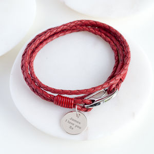 Red Leather Personalised Wrap Wristband - bracelets