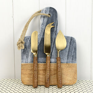 Brass Cheese Knives Set - dining room