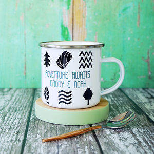 Personalised Adventure Awaits Enamel Mug - tableware