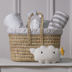 Personalised New Baby Gift Basket With Cloud Toy