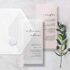Translucent Minimal Vellum Premium Wedding Invitation