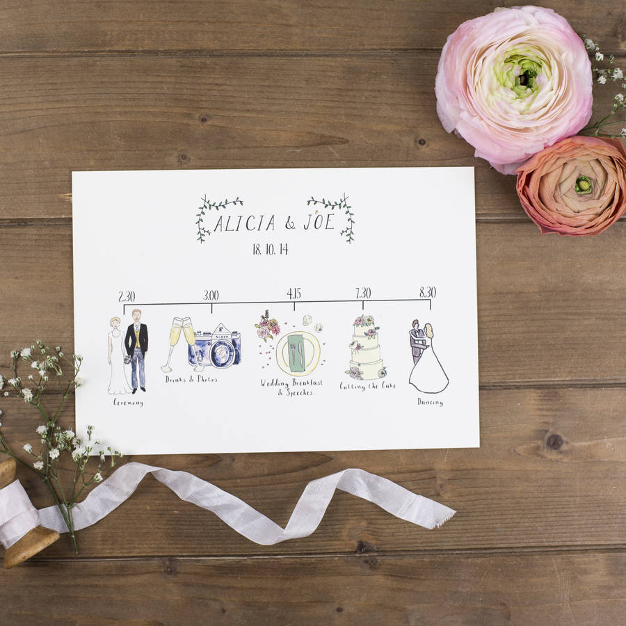 Bespoke illustrated wedding schedule by wildflower illustration co bespoke illustrated wedding schedule junglespirit Choice Image