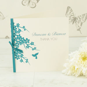 10 Personalised Hummingbird Thank You Cards