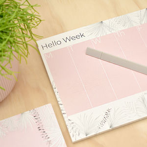 Weekly Desk Planner Pink Tropical 52 Pages