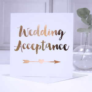 Copper Foil Wedding Acceptance Card