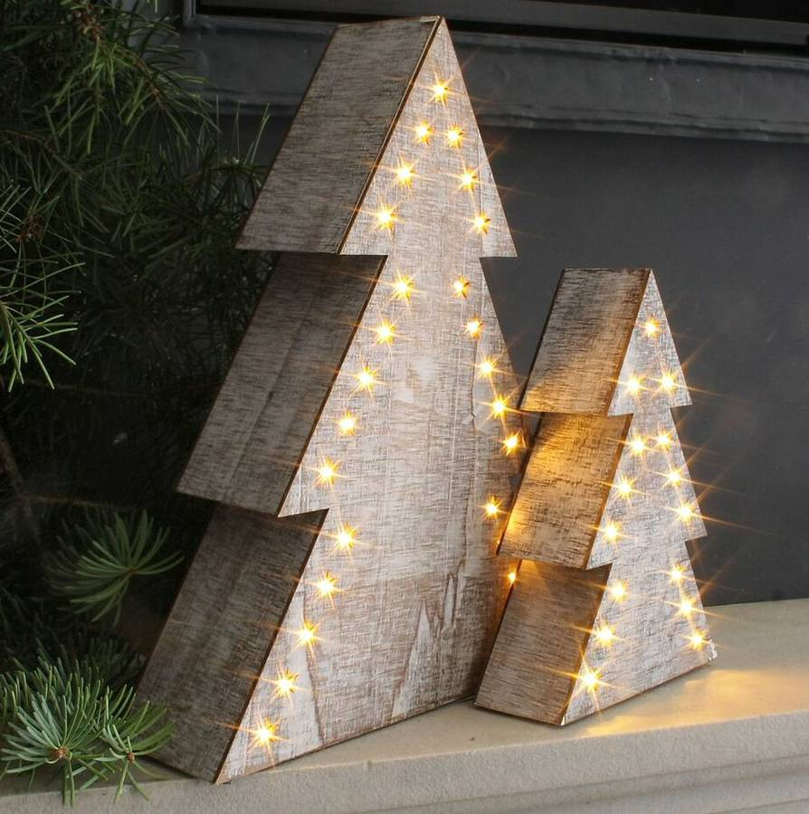 birch led christmas tree ornament - Wooden Led Christmas Decoration