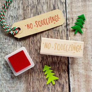 Christmas No Squeezing Kitsch Style Rubber Stamp