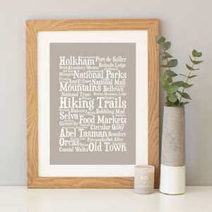 Personalised 'Favourite Places' Word Art Print - canvas prints & art