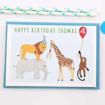 Personalised Jungle Child Birthday Card