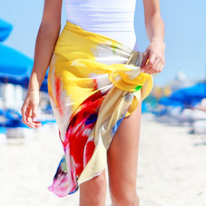 Ladies Scarf And Printed Modal Beach Cover Up, Feathers