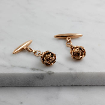 Rose Cufflinks – Rose Gold/Silver/Gold