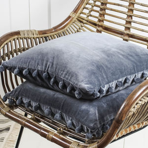 Grey Velvet Pom Pom Cushion - plain cushions