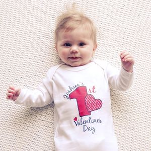 Baby's 1st Valentines Day Personalised Baby Grow - new in baby & child