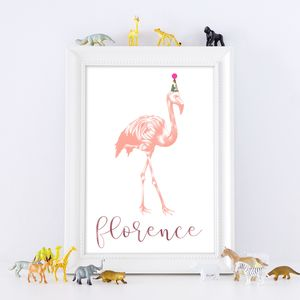 Personalised Illustrated Flamingo Print