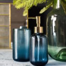 Etched Blue Glass Soap Dispenser