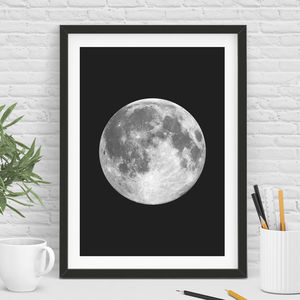 Full Moon Print In Black And White - nature & landscape