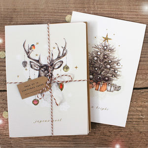 Pack Of Reindeer And Tree Christmas Cards - christmas cards
