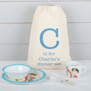 Boys Pirate Breakfast Dinner Set And Personalised Bag