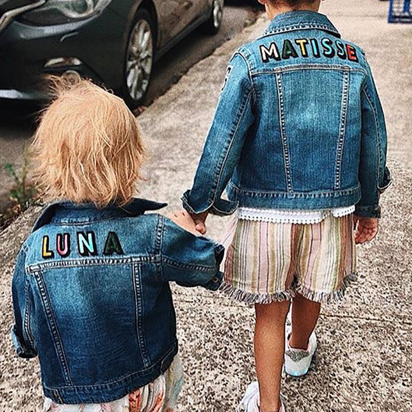 Kids Personalised Denim Jacket Rainbow Letters