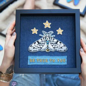'Be True To You' Framed Moth Embroidered Wall Art