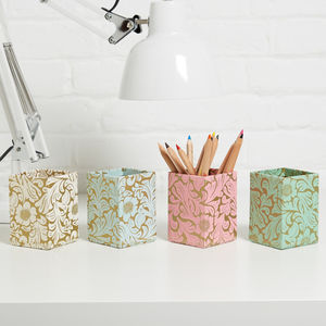 Recycled Gold Floral Pen Pot