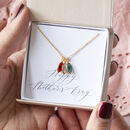 gold necklace with family birthstones
