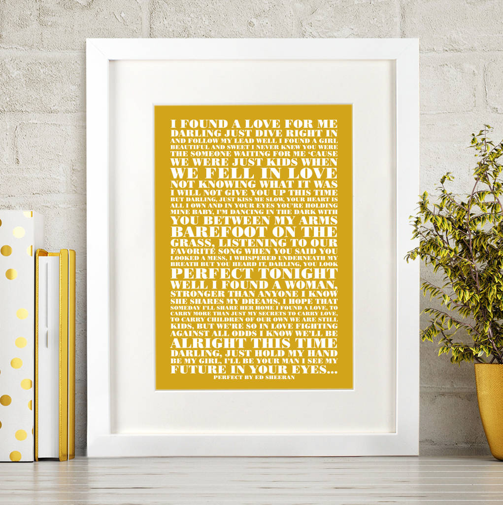 personalised favourite lyrics poster by over & over ...
