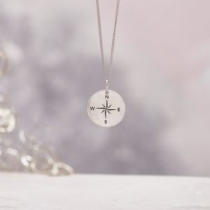 Silver Compass Necklace Personalised - necklaces & pendants