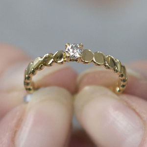 Pebble Solid Gold Diamond Engagement Ring - wedding jewellery