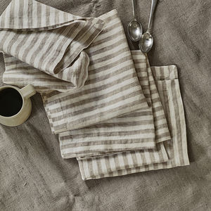 Striped Linen Napkins, Set Of Two - natural materials