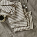 Striped Linen Napkins, Set Of Two