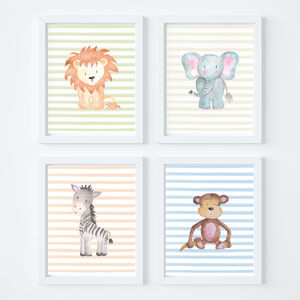 Animal Safari Nursery Art Print Set