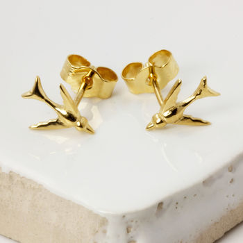 Tiny Swallow Earrings Gold Vermeil/Silver