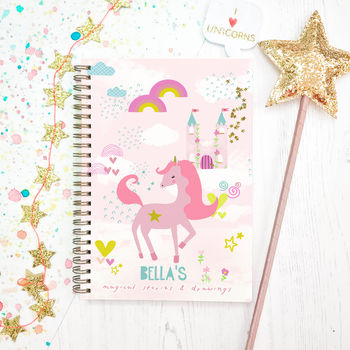 Personalised Unicorn Notebook 'Pink'