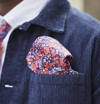 Mens Red Berry Pocket Square