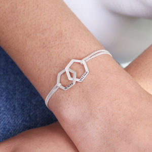 Personalised Sterling Interlocking Hexagons Bracelet