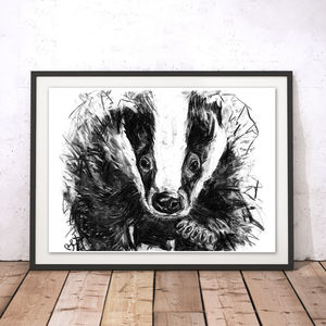 Badger Charcoal Fine Art Giclée Print