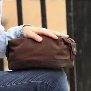 Waxed Canvas And Leather Toiletry Bag - wash & toiletry bags