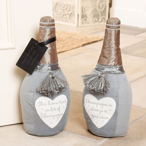 Personalised Champagne Novelty Fabric Doorstops