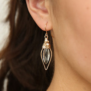 Crystal Quartz And Pearl Leaf Hoops - earrings