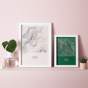 Custom Metallic Topographic Terrain Map Print - new in prints & art