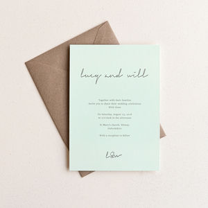 Love Letter Wedding Invitation / Duck Egg Blue