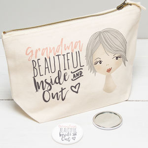 Personalised Make Up Toiletry Bag For Grandma - compact mirrors