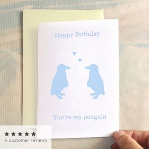 Personalised Birthday Penguin Birthday Card - birthday cards