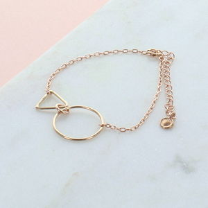 Circle And Triangle Rose Gold Bracelet