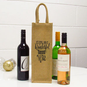 The Most Wonderful Time Of The Year Single Wine Bag - wrapping