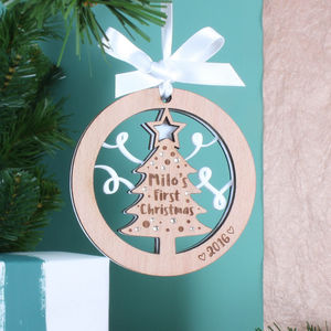 Personalised 1st Christmas Tree Hanging Decoration - baubles & hanging decorations