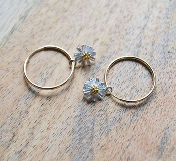 Small Daisy Hoop Earrings