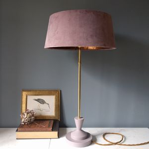 Blush Pink Velvet And Copper Deco Lamp - table lamps