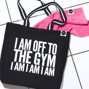 'Off To The Gym Bag' Black And White